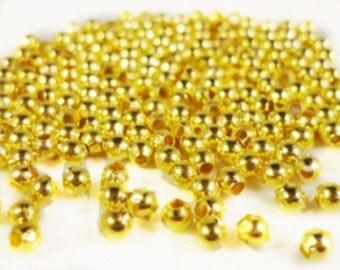 200pc 2.2mm gold finish iron metal round beads-8414