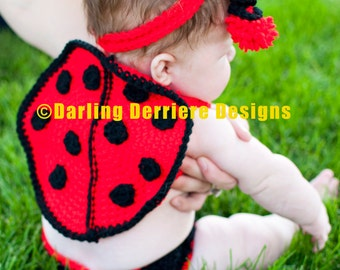 Baby Lady Bug Headband, Wings, and Diaper Cover Crochet Pattern PDF