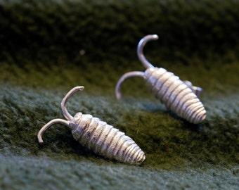 Sterling silver Sea slater (Ligia oceanica) earrings