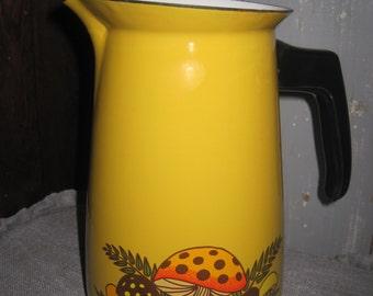 SALE - GrOoVy Gold Enamelware Coffee Pot with White Interior and Mod Mushroom Design - Black Plastic (Bakelite) Handle