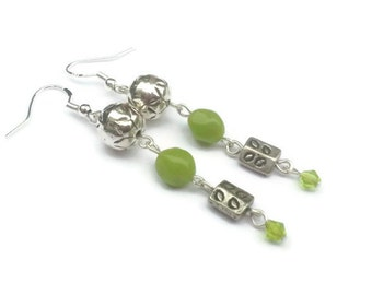 Green Apple and Silver Long Dangle Earrings