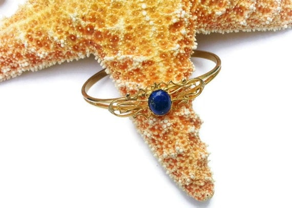 Gold Plated Bracelet with Lapis Stone One Size Fits All