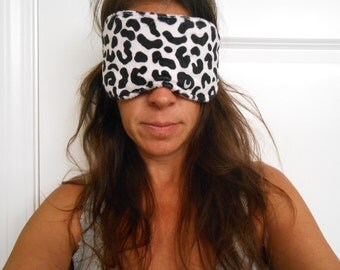 Pale Pink and Black Cheetah Print Minky Sleep Mask