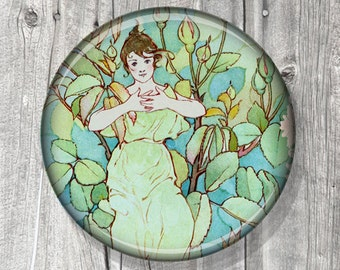 Floral Mirror - Pocket Mirror - Compact Mirror Roses - Floral Design Green Teal Mirror Rose Nymphs Vintage Fantasy Art A25