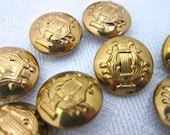 15 Gold METAL BUTTONS Lyre Design 15mm Shank Old Stock Brass