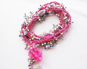 Flowers Crochet Jewelry, Twist and Flowers, Statement Bip  Necklace, Pink and Lilac Shades, Nautical Knot Rope Necklace, Summer Style
