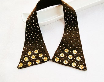Brown Collar Necklace-Peter Pan Collar Necklace- Golden Yellow Embroidered- Trend Accessory Col Claudine