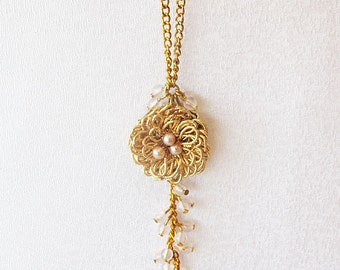 Gold  jewelry, handmade Necklace, Filigree-Looking, Fascinator, Special Design, Original, OOAK