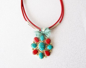 Afghan silver jewelry, red coral,  turquoise,  Afghan necklace, ethnic, tribal, TURKISH  jewelry