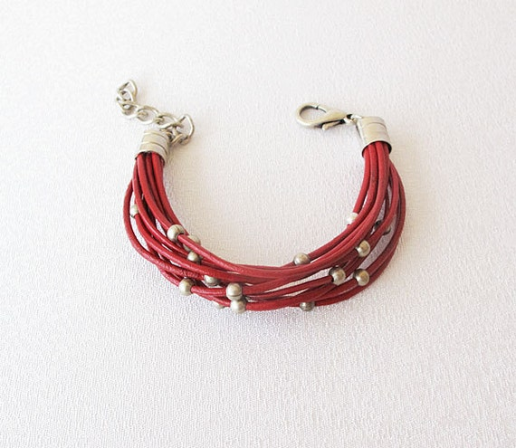 Red Leather rope Bracelet, Red Leather Bracelet Jewelry, Summer Red Bracelet, Handmade Bracelet, Summer Accessories