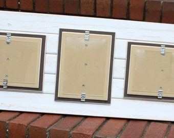 triple 5x7 distressed wood picture frame holds 3 5x7. Black Bedroom Furniture Sets. Home Design Ideas