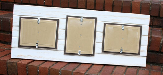 picture frame triple 5x7 distressed wood double mats. Black Bedroom Furniture Sets. Home Design Ideas