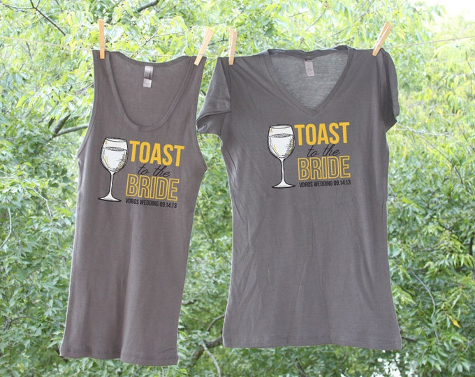 Toast to the Bride - Wine Themed - Charcoal and Marigold - Bachelorette shirts - Sets - TW