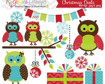 INSTANT DOWNLOAD, christmas owl clipart for personal and commercial use