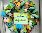 Welcome Baby Wreath - Deco Mesh Wreath - Spring Wreath - Baby Decoration - Customized Wreath - Monogram