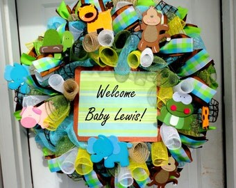 Welcome Baby Wreath - Deco Mesh Wreath - Spring Wreath - Baby Decoration - Customized Wreath - Monogram
