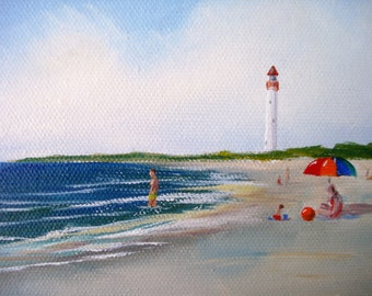 "Cape May Beach 6x12"" Oil Painting, unframed"