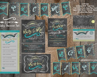 Customized DIY Printable Baby Shower Package - You Are My Sunshine Inspired - Chalkboard Look - 8 Piece Set