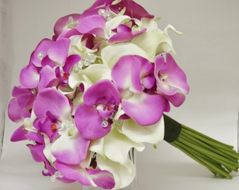 Tropical Bouquet - Destination Wedding Bouquet - Real Touch Bouquet - Calla Lilies,Orchids, Real Touch Calla Lilly Bouquet