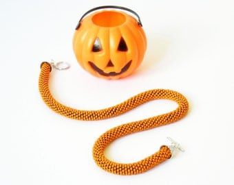 Halloween necklace: Orange pumpkin Beaded Crochet necklace. Made to order