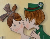 """WOOD """"LOVE"""" PLAQUE-Vintage Wall Art-St. Patrick's Day Celebration-Signed by Artist-Decoration-Irish Home Display-Kissing-Affordable Picture"""