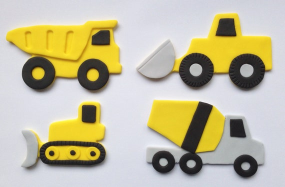 Fondant cake topper construction truck for Digger cake template