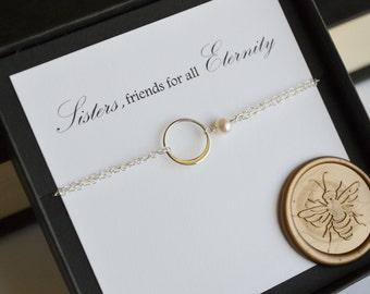 Sterling Silver Eternal Love Sister Bracelet with Genuine Freshwater Pearl and Crystal Quartz Gemstones
