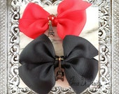 Eiffel Tower Bows Hair Clips x2  // Black OR CHOOSE Color + Charm Style, Handmade Gift by Cherie de Paris