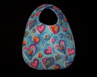 Baby Bib Bold Hearts, featuring different brightly colored hearts, BB029