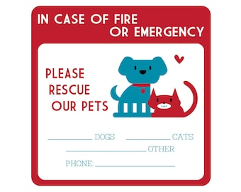 Two Emergency Pet Rescue Decals FREE SHIPPING dog decal cat sticker pet sticker fire safety pet rescue door sticker window sticker