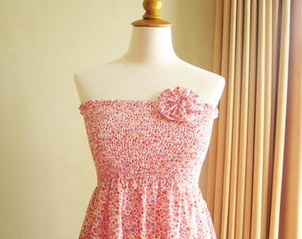 Pink Floral Cotton Smocked Dress with Fabric Flower Brooch