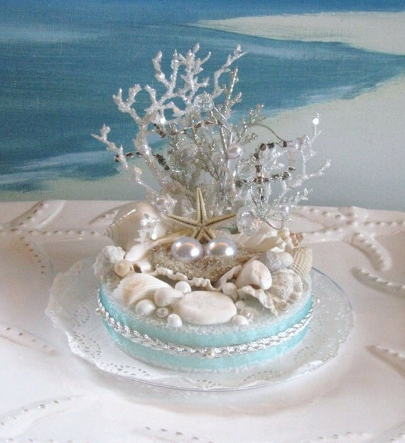 Seashell Beach Wedding Cake Topper Pearl Coral Wedding Cake