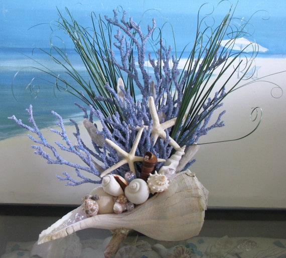 Seashell coral centerpiece beach grass starfish driftwood