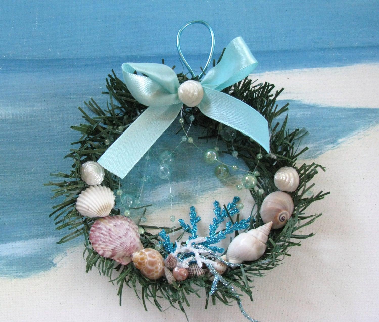 Mini seashell christmas wreath ornament by ceshoretreasures for Christmas tree ornaments made from seashells