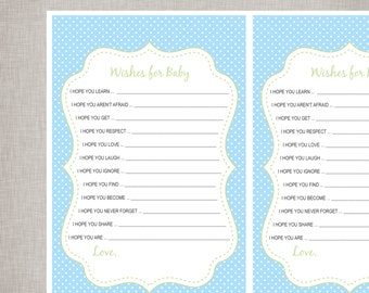 Wishes For Baby Sheets - Baby Blue & Green -  INSTANT DOWNLOAD