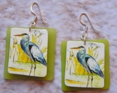 frosted great blue heron beach charm sea glass earrings