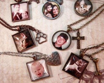 Custom Photo Necklace with Charm