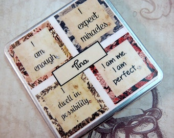 Affirmation Magnet Set in Matching Personalized Gift Tin Mantra Magnets Gifts for Teens Friends