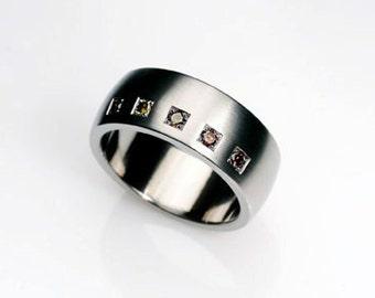 Men's brown diamond ring, Palladium wedding band, mens wedding rings, brown diamond wedding, commitment ring, Palladium band, unique, modern