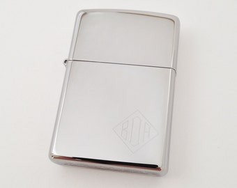 Groomsmen Gift - Monogram Zippo Lighter - Polished Chrome Finish- Engraved Personalized
