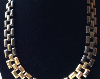 Vintage Avon Gold and Gun Metal Black Necklace by CJW