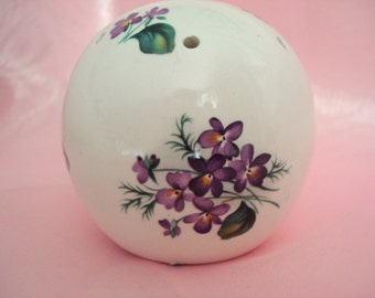 Vintage Sachet Pomander Violets Bone China Made in England Shabby Cottage Chic