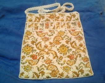 Walborg Tapestry Beaded Purse, Rose, Green and Yellow, with White Beads
