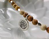 Yoga Om Picture Jasper Bracelet, Yoga Bracelet,  Om Thai Karen Silver Charm, Bali Silver, Meditation bracelet