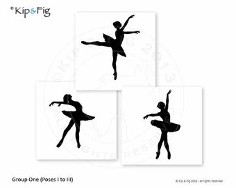 Ballet Silhouettes - Group One - applique PDF template - applique pattern design