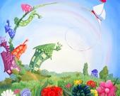 Sky Sailing, Whimsical Greetings card Blank Inside.