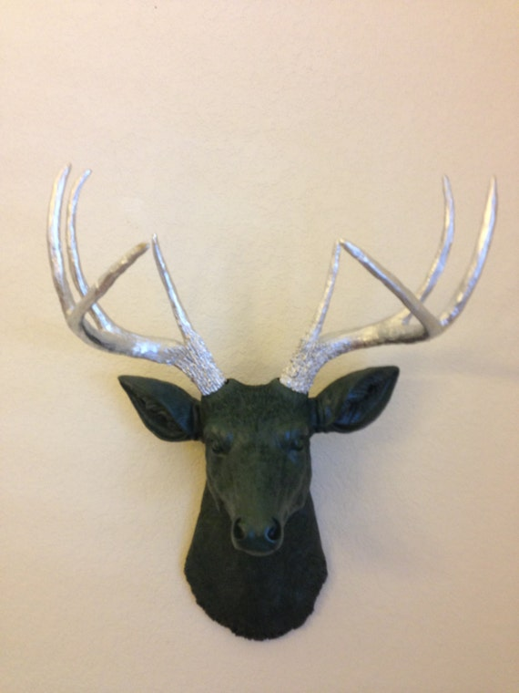 Items similar to faux deer head wall decor black and silver trophy with antlers taxidermy - Decorative stags head ...