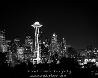 16x24 Seattle Space Needle Black and White Fine Art Print Vintage Wall Decor