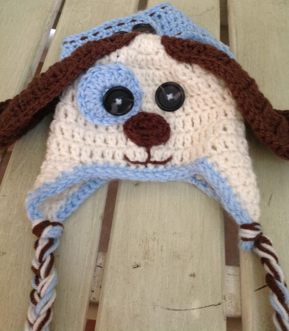 Crochet Dog Hat And Diaper Cover Pattern : Crochet Baby Puppy Dog Hat and Diaper Cover Set by ...