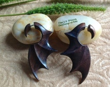 "Fake Gauge Earrings, ""Bat Wings"" Hand Carved, Sono Wood, Naturally Organic, Tribal"